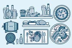 Ställ in öl, sejdlar, flaskor, och mat med pimplar, aptitretaren, fastfood i linjen stil Royaltyfri Bild