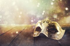 Stll life of a carnival mask on a wood floor. Stll life of a vintage carnival mask on a wood floor royalty free stock photo