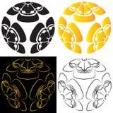 Ställ in melonfärger som består av svart, och guld stiliserade bild av en vit och svärtar bakgrund, tatueringen, ett symbol av Royaltyfria Foton