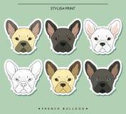 Ställ in mål skissar olik färg för fransk bulldogg hundstående s Arkivbild