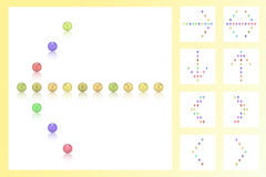 Ställ in 9 pilar av färgrika pärlor, godisar, sötsaker, socker, konfekten, tecken Arkivfoton