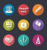 Ställ in plana symboler för självständighetsdagen av Amerika, långa skuggor Arkivfoton
