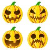 Ställ in pumpor för Halloween på den vita vektorillustrationen Arkivfoto