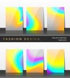 Ställ in reklamblad och broschyrer med ljus bakgrundshologramprinting Arkivbilder