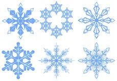 ställ in snowflaken Flake av snow Arkivfoton