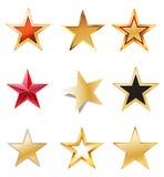 Ställ in stjärnor med guld Royaltyfri Fotografi
