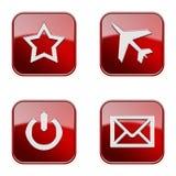Ställ in symbolen röd glansig #04. Arkivfoton