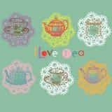 ställ in tea Fotografering för Bildbyråer