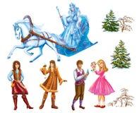 Ställ in tecknad filmtecken Gerda, Kai, samiska Womanand träd för sagasnödrottningen som är skriftlig vid Hans Christian Andersen Arkivbild