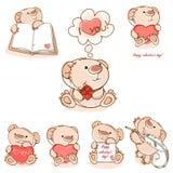 Ställ in valentinnallebjörnen Arkivbilder