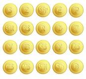 Ställ in valuta för 20 knappar Arkivbild