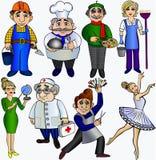 Ställ in yrkefolk Dansare för doktor för konstnär för ballerina för frisör för kock för lärarebyggmästarerengöringsmedel Royaltyfri Foto