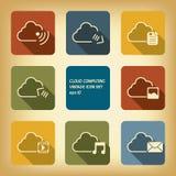 Ställde beräknande symboler in för moln i modern plan design Arkivfoto
