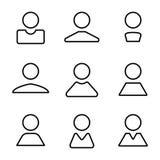 Ställde den fulla linjen in symboler för den abstrakta mänskliga användarelägenheten för avataren Royaltyfri Fotografi