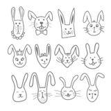 Ställde gulliga kaninhuvud in för klotter i handen dragen vektorillustration för älsklings- djur Royaltyfri Fotografi
