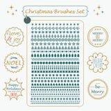 Ställde specialtillverkade borstar och linjen in ferieetiketter för jul Royaltyfri Bild