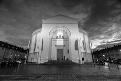 Stludwig教会黑白的达姆施塔特德国 免版税库存图片