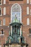 StMary大教堂Mariacki,哥特式样式教会,主要集市广场,克拉科夫,波兰 免版税图库摄影