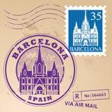 Stämpel fastställda Barcelona Arkivfoto