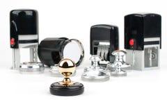 Stämpel för rund hand och automatiska stämplar Fotografering för Bildbyråer