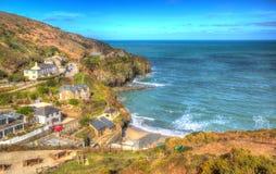 St艾格尼丝康沃尔郡在Newquay和圣Ives之间的英国英国五颜六色的HDR的 免版税库存照片