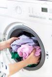 stäng maskinen som skjutas upp tvätt Royaltyfria Foton