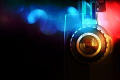 Stäng sig upp av den gamla linsen för den 8mm filmprojektorn Royaltyfri Fotografi