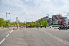 Stängd gata nära ECHR som folkmassaprotest Royaltyfri Fotografi
