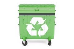 Stängd grön avskrädebehållare, 3D Royaltyfria Foton