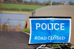 Stängt tecken för polisväg Fotografering för Bildbyråer