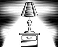 Stołowa lampa, wizerunek w liniowym i rytownictwo, ilustracji