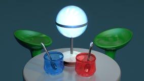 STOŁOWA scena LAMPOWI szkła I WYSOCY krzesła - Obraz Royalty Free