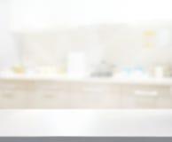 Stołowego wierzchołka I plamy Kuchenny pokój tło Obrazy Stock