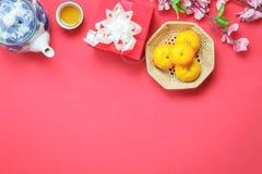 Stołowy odgórnego widoku wizerunek strzelał dekoracja Chiński nowy rok & księżycowy wakacyjny tło obraz stock