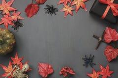 Stołowy wierzchołek dekoracja znaka festiwalu Szczęśliwy Halloweenowy tło Obraz Royalty Free