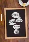 Stołowy wierzchołek z blackboard z sieci grafika Fotografia Stock
