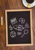 Stołowy wierzchołek z blackboard z sieci grafika Obraz Stock