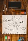 Stołowy wierzchołek z notatnikiem z sieci grafika Fotografia Royalty Free