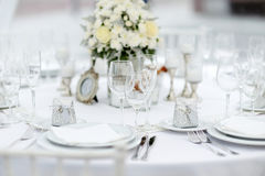 Stołu set dla wydarzenia wesela lub przyjęcia Zdjęcie Royalty Free