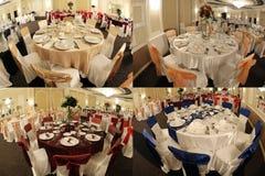 Stoły w ślubnej sala balowej, multicam, ekranizują rozłam w cztery częściach, siatka 2x2 Obrazy Royalty Free