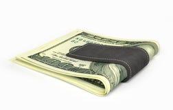 Sto dolarów banknotów w pieniądze klamerce ilustracja wektor