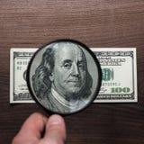 Sto dolarów banknotu uwierzytelnienia Zdjęcia Stock
