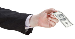 Sto dolarów banknotu w biznesmen ręce Zdjęcie Stock