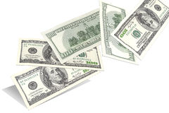Sto dolarowych rachunków, lata przypadkowo od dna up Obraz Royalty Free
