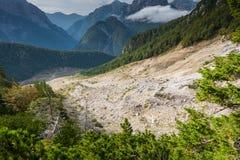 Stože landslide - original site. The Stože landslide/debris flow triggered in autumn 2001. It burried the village Log pod Mangartom and killed 7 people. Almost Stock Images