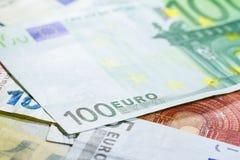 Sto euro banknotu zakończeń up Zdjęcie Royalty Free