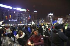 Sto tysiąc protest jako Rumunia relaksuje korupci prawo Obraz Royalty Free