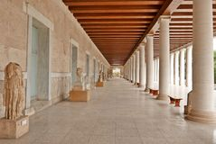 Stoa της αρχαίας αγοράς Αθήνα Attalos Στοκ Εικόνες