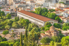 Stoa of Atalos in Ancient Agora of Athens, Greece. The Stoa of Attalos in Ancient Agora of Athens, Greece from above Stock Photo