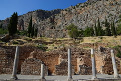 The Stoa of the Athenians, Delphi, Greece. The Stoa of the Athenians built in Delphi, Greece, in 478 BC, was part of the building program of Perikles and Royalty Free Stock Photography